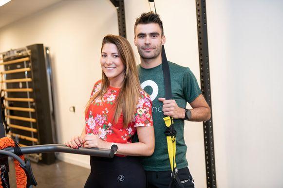 Kinesistherapeute Lara Nerinckx en bewegingswetenschapper en personal coach Sebert Penen.