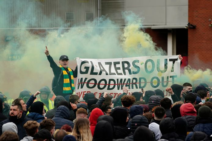 Protest van United-fans.