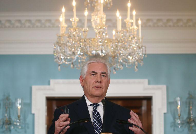 Minister van buitenlandse zaken Rex Tillerson houdt een speech over Iran en  Noord Korea. Beeld AFP