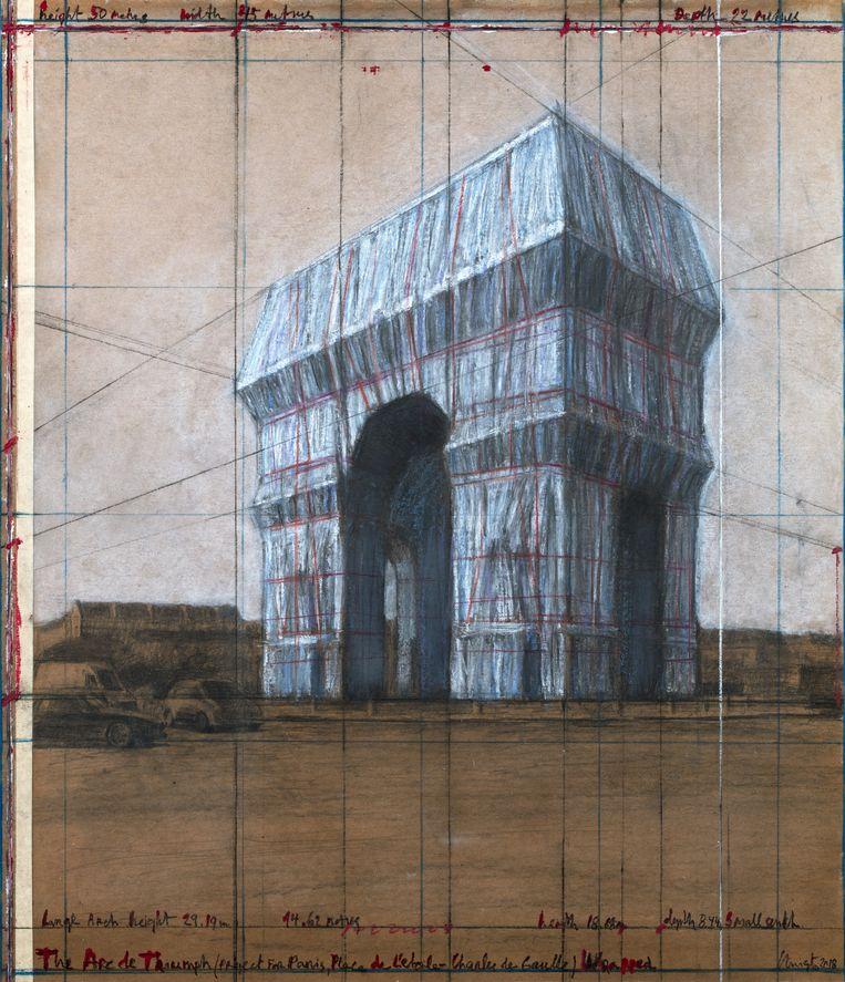 Schets van de ingepakte Arc de Triomphe Beeld Estate of Christo V. Javacheff / Christo and Jeanne-Claude Foundation / André Grossman