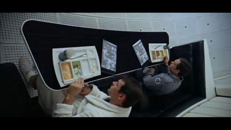 Beeld uit de film 2001: A Space Odyssey (via YouTube) Beeld