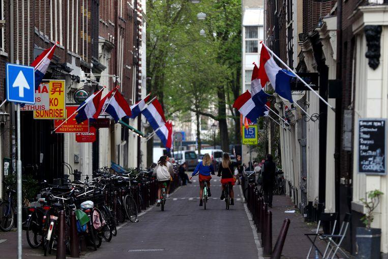 Het centrum van Amsterdam op Koningsdag vorig jaar.  Beeld Getty Images