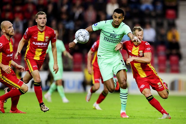 Cody Gakpo (in groen) tijdens de wedstrijd tussen Go Ahead Eagles en PSV in de Adelaarshorst.  Beeld ANP
