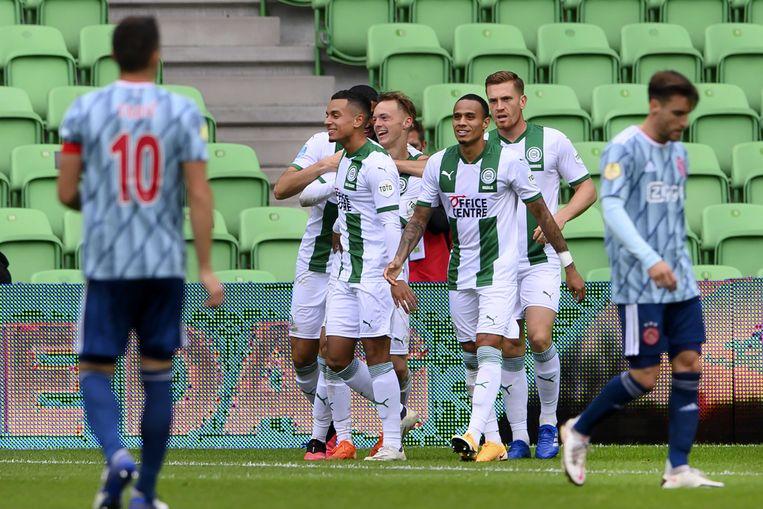 Ajax ging in Groningen met 1-0 onderuit door een doelpunt van Remco Balk. Beeld ANP