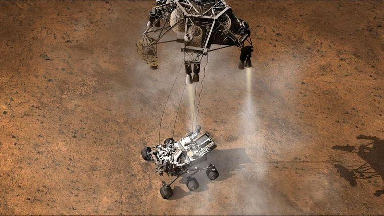 Een artist's impression van de landing van Curiosity. Beeld NASA