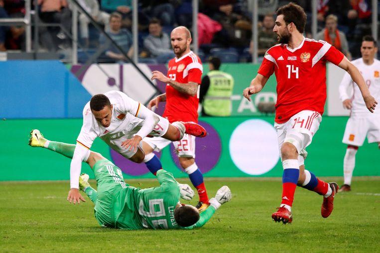 Wedstrijd van Rusland tegen Spanje.