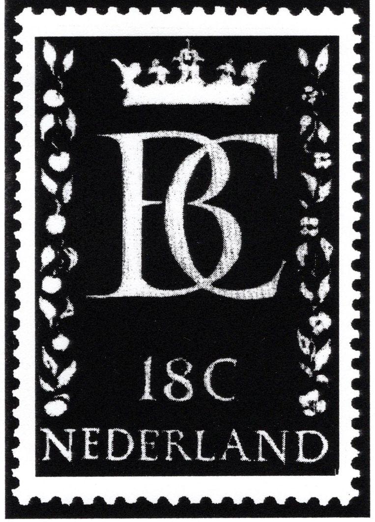 Sem Hartz ontwierp in 1966 deze zegel voor het huwelijk van Beatrix en Claus. Vanwege het protest tegen hun bruiloft bleef de zegel onuitgegeven. De vrees was dat de zegel ondersteboven zou worden geplakt of doorgeknipt. Beeld