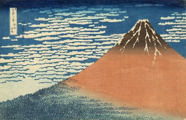 Eén van de 'Zesendertig gezichten op de berg Fuji' (ca. 1832) Beeld Katsushika Hokusai