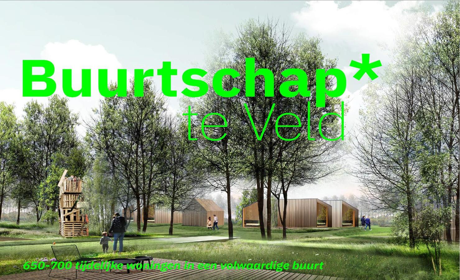 Impressie van hoe Buurtschap Te Veld aan de Castilliëlaan in Eindhoven, met 670 tijdelijke woningen, er uit zou kunnen zien.