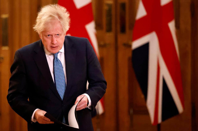 Boris Johnson na afloop van een persconferentie. Beeld REUTERS
