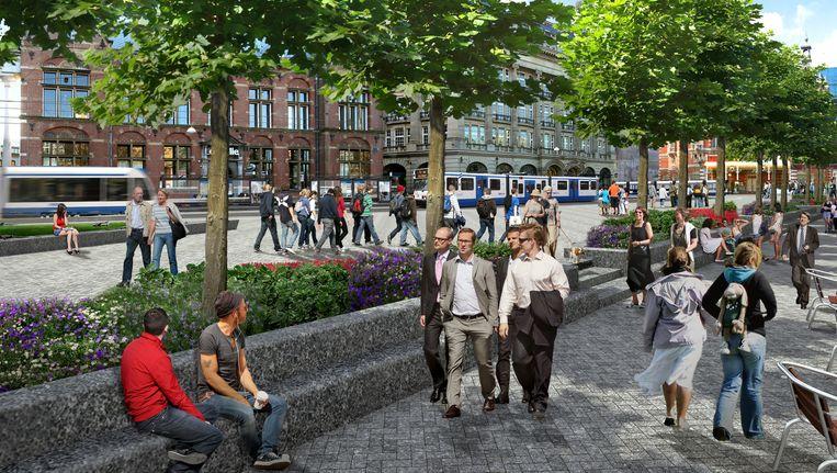 Artist impression van het toekomstige Kleine-Gartmanplantsoen. Beeld Gemeente Amsterdam