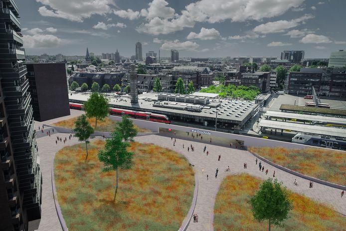 De beoogde nieuwe stationsentree, onderdeel Centrumkwadraat