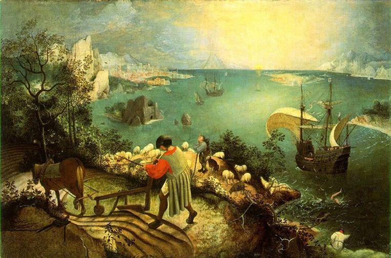 De val van Icarus door Pieter Bruegel de Oude:'Is dit een metafoor voor de Brexit, vroeg ik me af. Zeilt het Europese schip rustig door?' Beeld