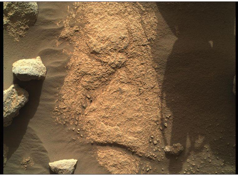Een haarscherp beeld dat de Perseverance nam met de camera op zijn robotarm. Het beeld toont de bodem van de rode planeer en dateert van 9 mei. Beeld NASA/JPL-Caltech/MSSS