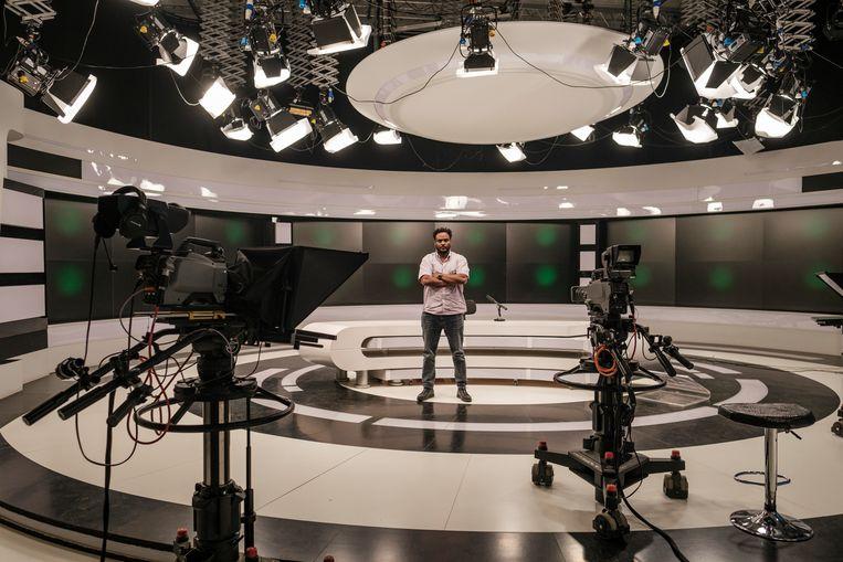 Kahisay Biru, baas van Tigray TV, de grootste tv-zender in de Ethiopische deelstaat, die sinds kort onder de controle staat van de federale overheid. 'Ik kan deze vernedering niet langer aan.' Beeld Eduardo Soteras Jalil