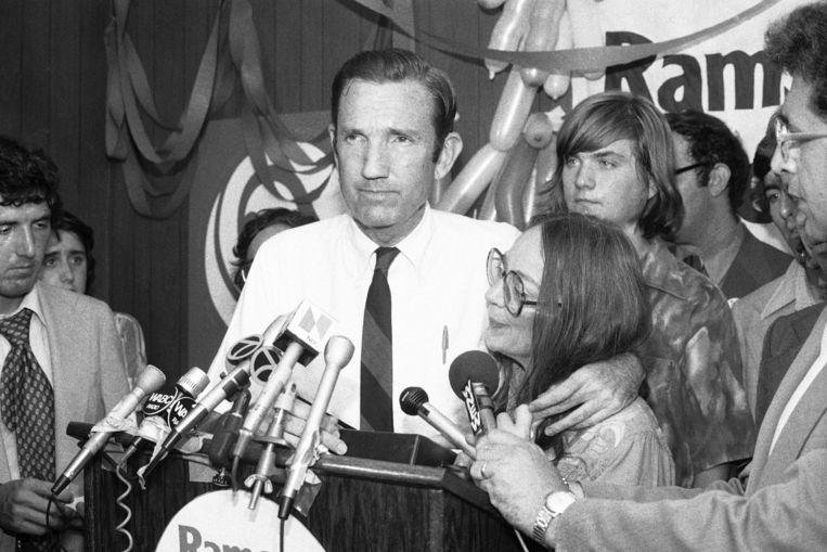 Archiefbeeld. Ramsey Clark als Democratische kandidaat voor de Senaat.  (14/09/1976) Beeld AP