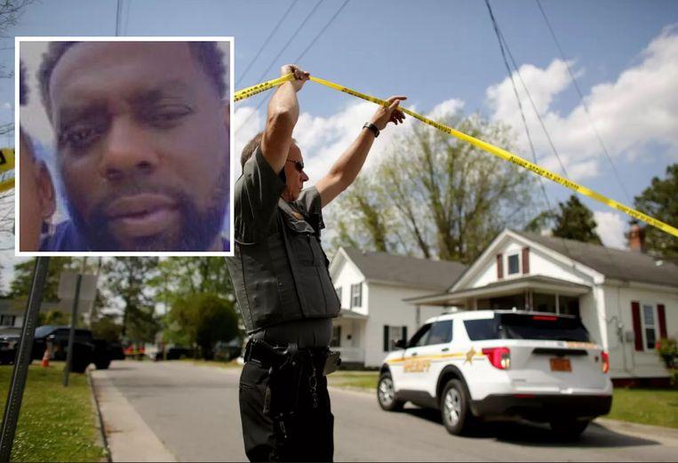 Een agent aan het plaats delict. Inzet: slachtoffer Andrew Brown junior. Beeld AP - Facebook