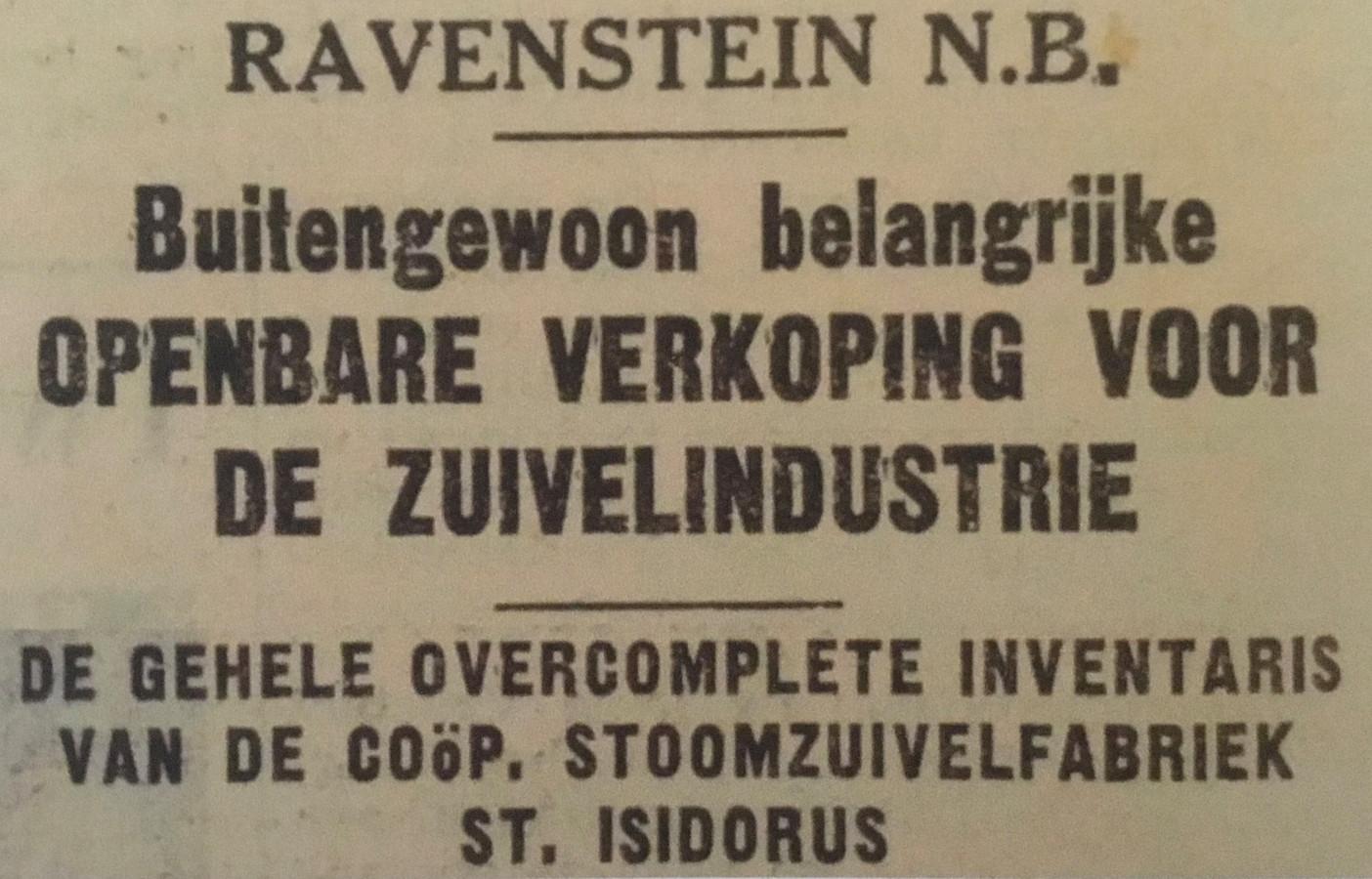Op 22 september 1954 was de inventaris van de melkfabriek Sint Isidorus in Ravenstein voor de hoogste bieder
