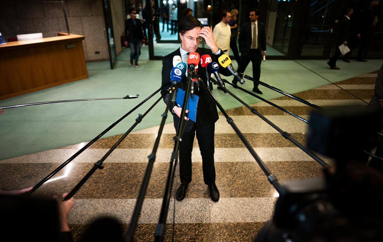 Mark Rutte vorige week na afloop van het debat over de gelekte stukken van de verkenners. Beeld Freek van den Bergh / de Volkskrant