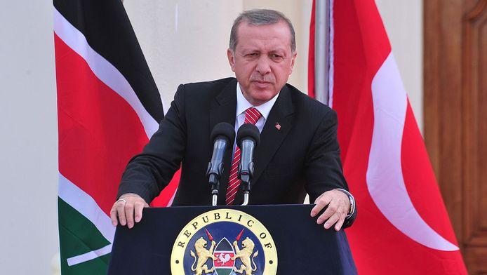 De Turkse president Erdogan tijdens zijn bezoek aan Kenia