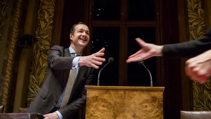Staatssecretaris Eric Wiebes van Financiën tijdens de behandeling van het Belastingplan maandagavond
