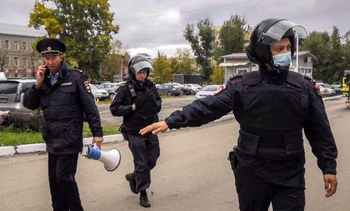 De politie is massaal ter plaatse.