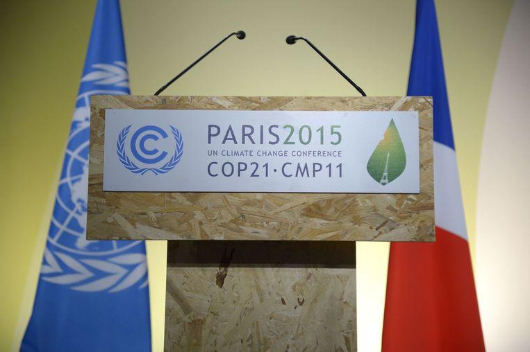 De klimaattop wordt gehouden in een conferentiecentrum bij vliegveld Le Bourget Beeld anp