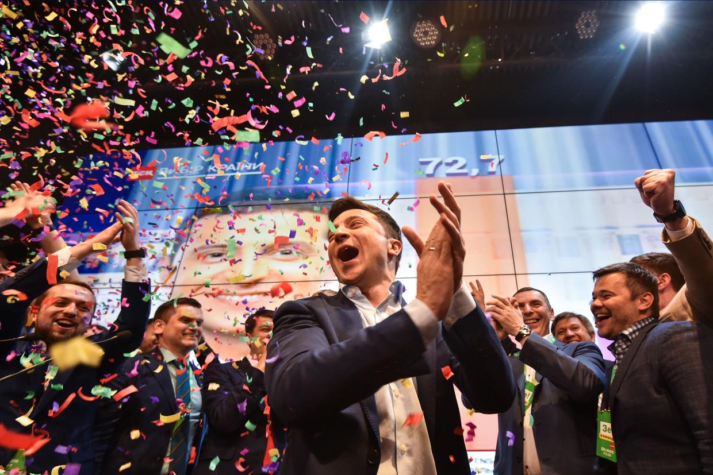 Komiek Volodymyr Zelenski is de nieuwe president van Oekraïne. Beeld AFP