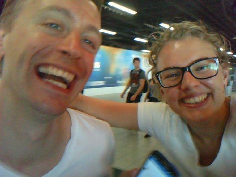 Laurens en Karlijn, vlak voordat ze vertrokken. Beeld -