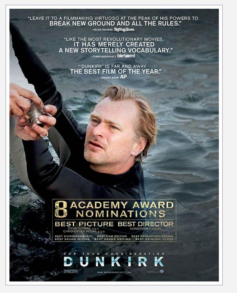 Regisseur Christopher Nolan laat zich als actieheld opvoeren in de promocampagne voor 'Dunkirk' Beeld awardsdaily.com
