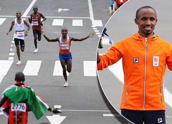 Abdi Nageeye wint de sprint om plek twee en rent af op winnaar Eliud Kipchoge.