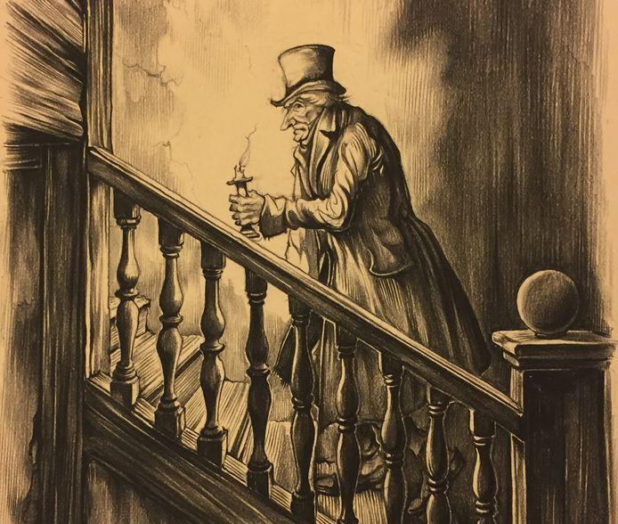 Scrooge uit A Christmas Carol. Bron:  Anton Pieck Museum Hattem.