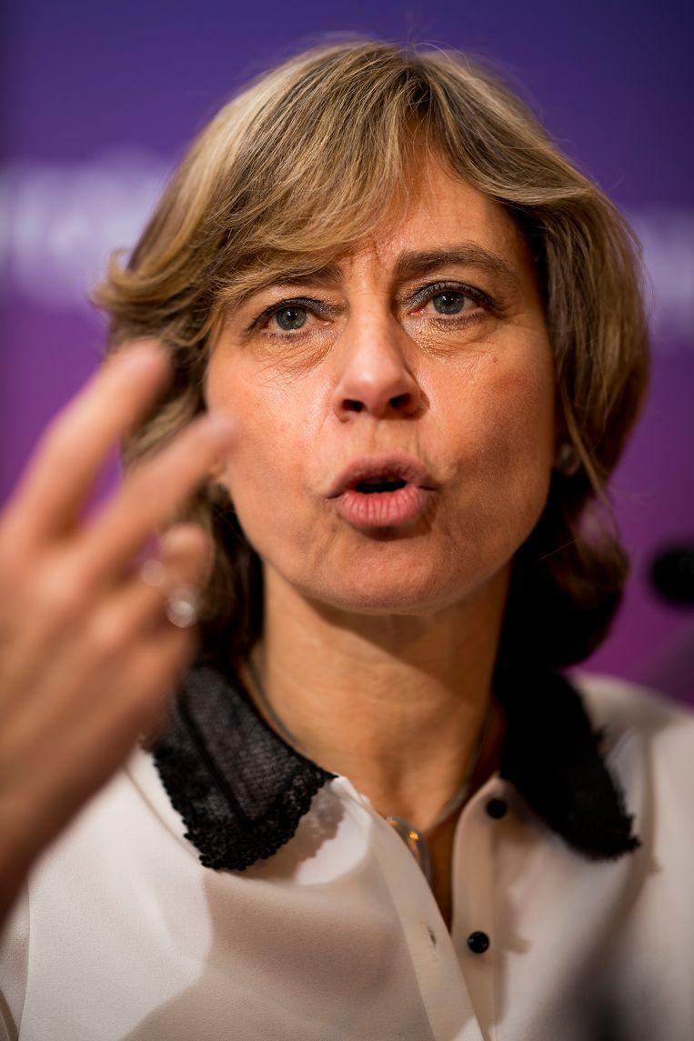 Proximus CEO Dominique Leroy tijdens een persconferentie in maart 2019 Beeld BELGA