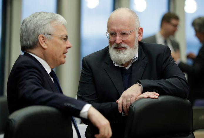 Didier Reynders samen met Frans Timmermans. Frans Timmermans is verantwoordelijk voor de European Green Deal.