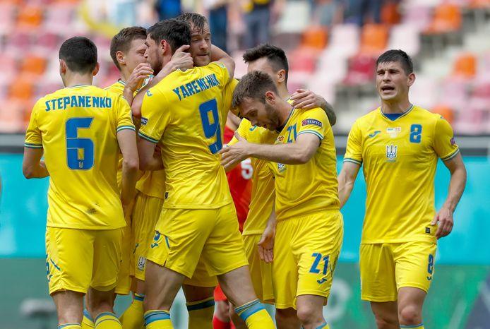 Oekraïne viert de 2-0 van Roman Yaremchuk.