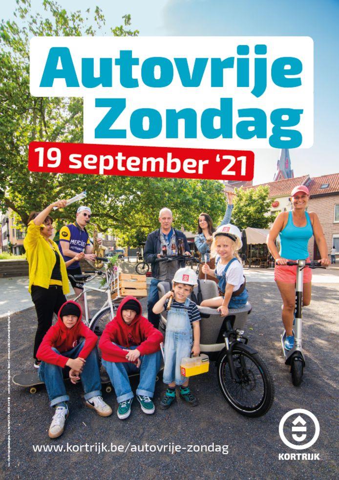 De affiche van autovrije zondag in Kortrijk