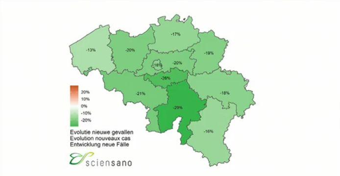 Carte de l'évolution des nouveaux cas de coronavirus en Belgique.