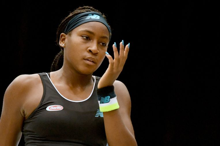 Cori Gauff of US reacts during the WTA-Upper Austria Ladies tennis match against Stefanie Voegele of Switzerland (unseen) on October 8, 2019 in Linz, Austria. (Photo by BARBARA GINDL / APA / AFP) / Austria OUT