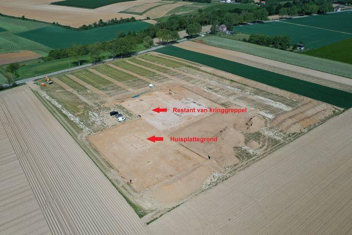Het aardappelveld vanuit de lucht gezien.