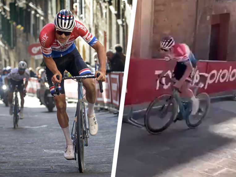Mathieu van der Poel knalde naar boven in Siena. Beeld Photonews/RV