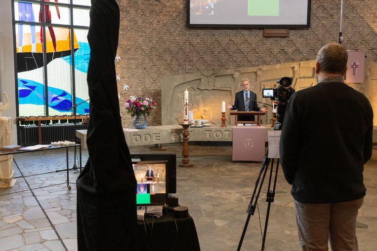 De digitale kerkdienst in de Ark.  Beeld Herman Engbers