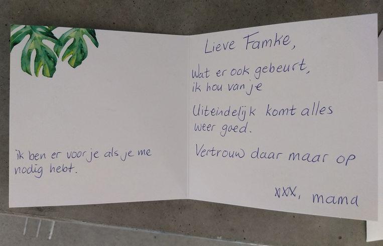 Nadat het contact was verbroken, schreef Ineke kaarten en brieven aan haar dochter. Famke heeft ze nooit gelezen. Beeld privecollectie