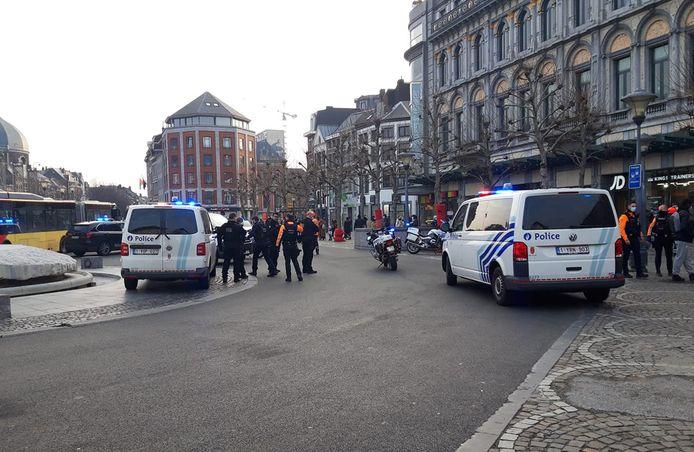 Arrestation, ce lundi matin, sur la place Saint-Lambert à Liège.