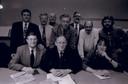 Tien zetels voor Rosmalens Belang bij de verkiezingen in november 1995. Op de achterste rij de eerste twee wethouders uit Rosmalen die Den Bosch zou krijgen: Henk Goedhart (links) en Rien van Grunsven.