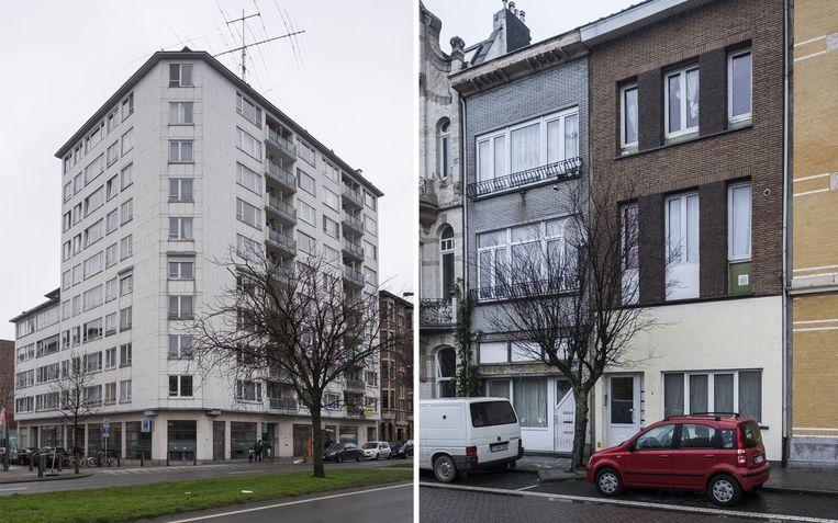 In het gebouw (links) aan de Plantin & Moretuslei kocht de man in 2002 een flat voor 40.000 euro. Die werd voor 95.000 euro verkocht in 2014. Voor het huis  in de Lange Lobroekstraat (rechts) betaalde de man maandelijks 677 euro af, terwijl de huurinkomsten meer dan 3.000 euro bedroegen.