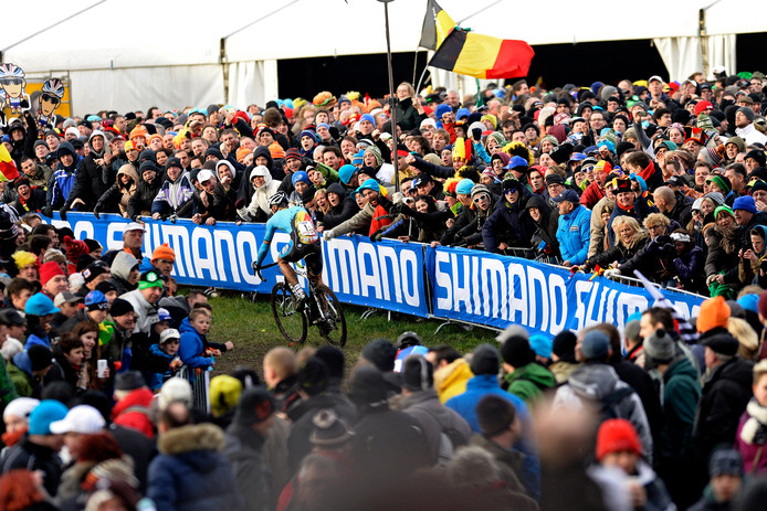 Ook bij het vorige WK veldrijden in Hoogerheide, in 2014, waren er meer Belgische dan Nederlandse bezoekers.
