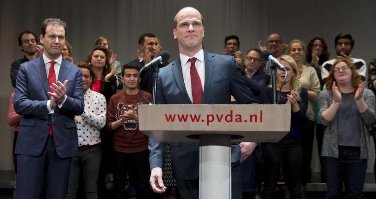Kandidaat-lijsttrekker van de PvdA Diederik Samsom houdt een toespraak na het verliezen van de PvdA-lijsttrekkersverkiezing. Beeld anp