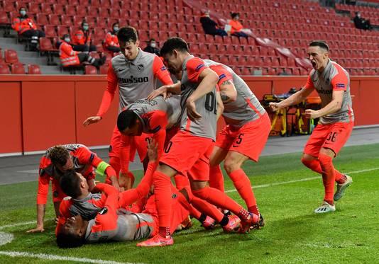 De spelers van Young Boys vieren feest.