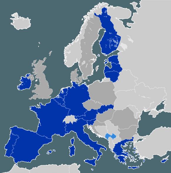 De 19 landen van de eurozone.