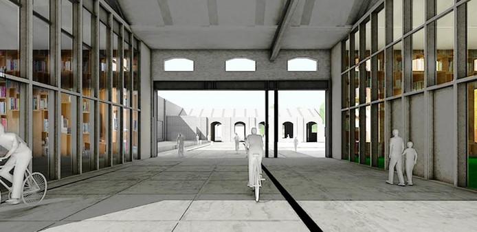 De verbinding - dwars door de gebouwen - naar de Burgemeester Brokxlaan